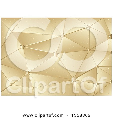 Clipart of a Christmas Background of Gold Star Geometric Connections - Royalty Free Vector Illustration by dero