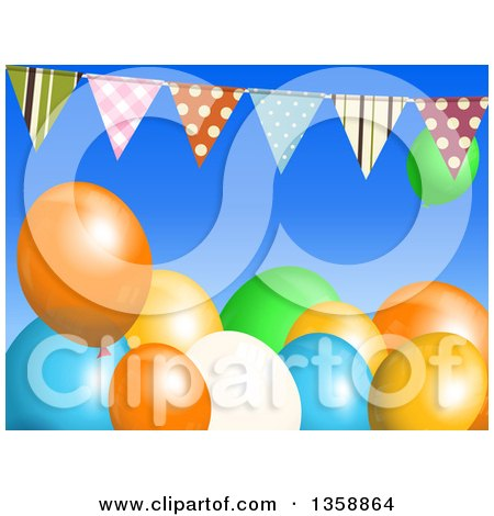 Clipart of a Background of 3d Colorful Party Balloons Under a Bunting Banner on Blue - Royalty Free Vector Illustration by elaineitalia