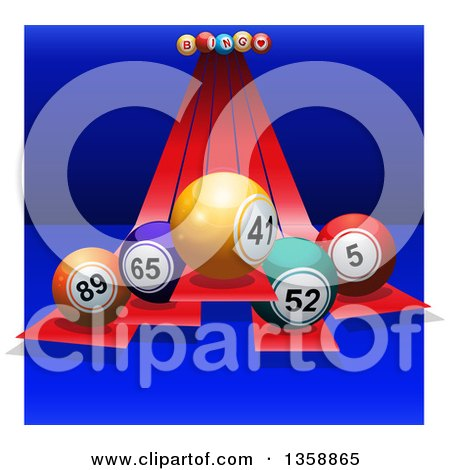 Clipart of 3d Colorful Bingo Balls on Red Stripes over Blue, with White Sides - Royalty Free Vector Illustration by elaineitalia