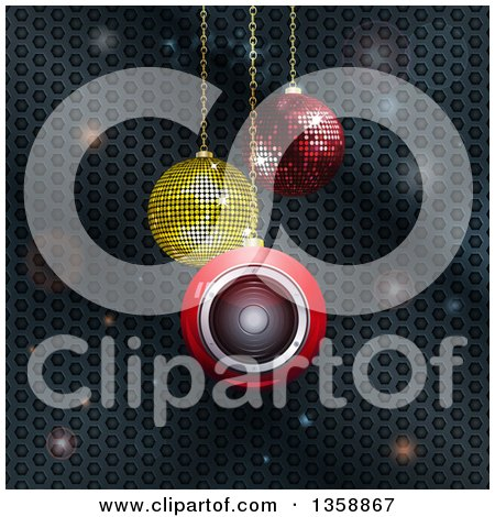 Clipart of 3d Suspended Sparkly and Speaker Christmas Baubles over Metal Honeycomb with Flares - Royalty Free Vector Illustration by elaineitalia