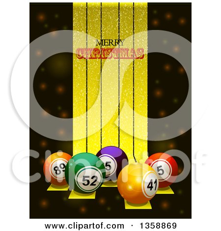 Clipart of 3d Colorful Bingo or Lottery Balls over Golden Stripes, with Merry Christmas Text - Royalty Free Vector Illustration by elaineitalia