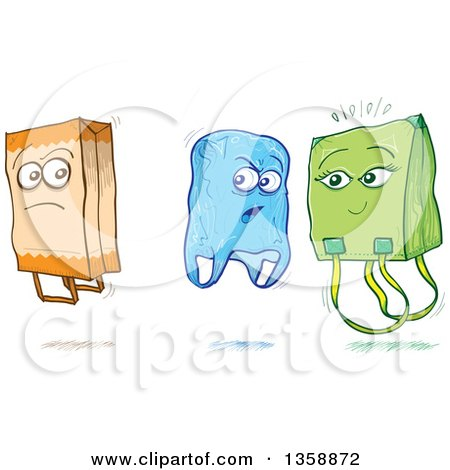 Clipart of Cartoon Sketched Plastic and Fabric Shopping Bags Criticizing a Paper Bag - Royalty Free Vector Illustration by Zooco