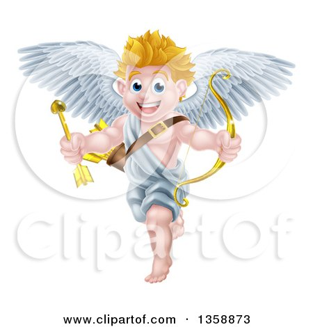 Clipart of a Happy Blond Caucasian Valentines Day Cupid Holding a Gold Heart Arrow and Bow - Royalty Free Vector Illustration by AtStockIllustration