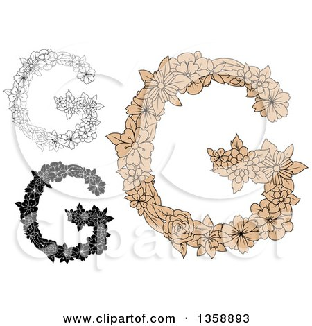Clipart Of Tan And Black White Floral Uppercase Alphabet Letter G Designs