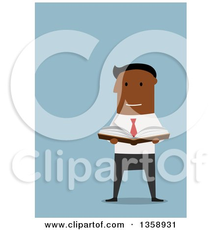 Clipart of a Flat Design Black Business Man Holding an Open Book, on a Blue Background - Royalty Free Vector Illustration by Vector Tradition SM