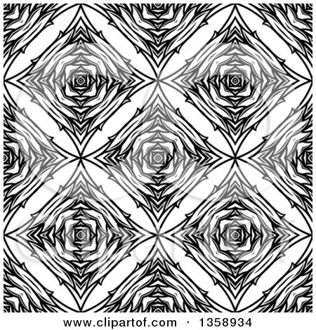 Clipart of a Black and White Seamless Geometric Background - Royalty Free Vector Illustration by Vector Tradition SM