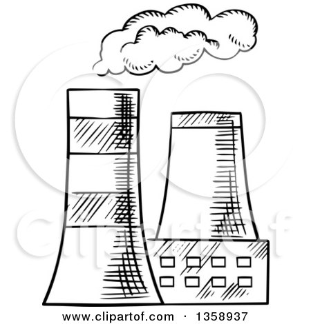 Clipart of Black and White Sketched Cooling Towers - Royalty Free Vector Illustration by Vector Tradition SM