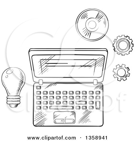 Clipart of a Black and White Sketched Laptop, Light Bulb, Cd and Gears - Royalty Free Vector Illustration by Vector Tradition SM