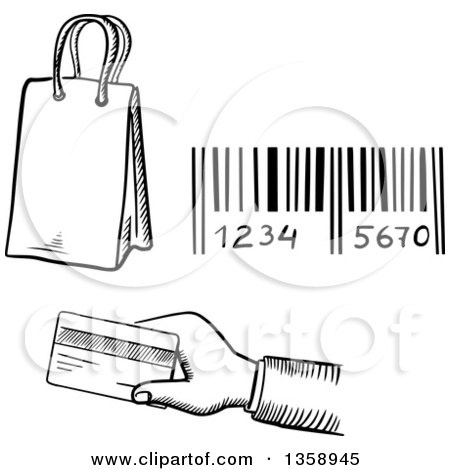 Clipart of a Black and White Sketched Shopping Bag, Bar Code and Hand Holding out a Credit Card - Royalty Free Vector Illustration by Vector Tradition SM
