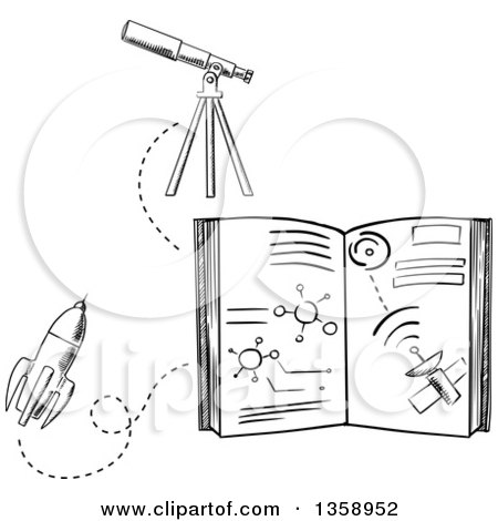 Clipart of a Black and White Sketched Astronomy Book, Rocket and Telescope - Royalty Free Vector Illustration by Vector Tradition SM