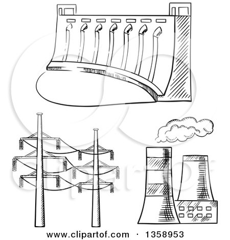 Clipart of a Black and White Sketched Dam, Cooling Towers and Power Lines - Royalty Free Vector Illustration by Vector Tradition SM