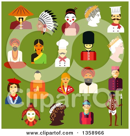 Clipart of Flat Design People from Different Cultures, Chinese, Japanese, Indian, Native American, German, Italian, French, Russian, British, Australian, Greek over Green - Royalty Free Vector Illustration by Vector Tradition SM