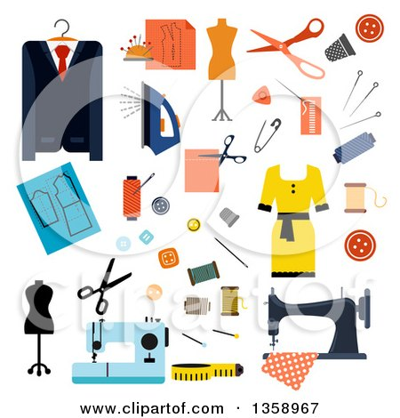 Clipart of Flat Design Tailoring Accessories and Clothing - Royalty Free Vector Illustration by Vector Tradition SM