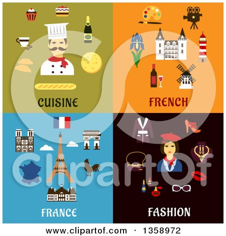 Clipart of Flat Cuisine, French and Fashion Designs - Royalty Free Vector Illustration by Vector Tradition SM