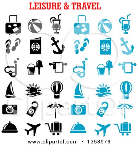 Clipart of Blue and Black Leisure and Travel Icons with Text - Royalty Free Vector Illustration by Vector Tradition SM