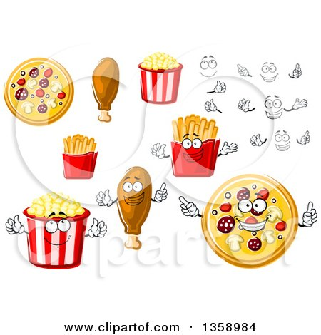 Clipart of Cartoon Faces, Hands, Pizzas, Chicken Drumsticks, Popcorn and French Fries - Royalty Free Vector Illustration by Vector Tradition SM