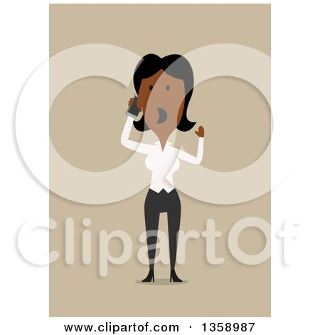 Clipart of a Flat Design Black Business Woman Shouting and Talking on a Smart Phone, on a Tan Background - Royalty Free Vector Illustration by Vector Tradition SM