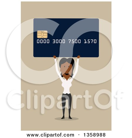 Clipart of a Flat Design Black Business Woman Holding up a Credit Card with a Smart Chip, on a Tan Background - Royalty Free Vector Illustration by Vector Tradition SM