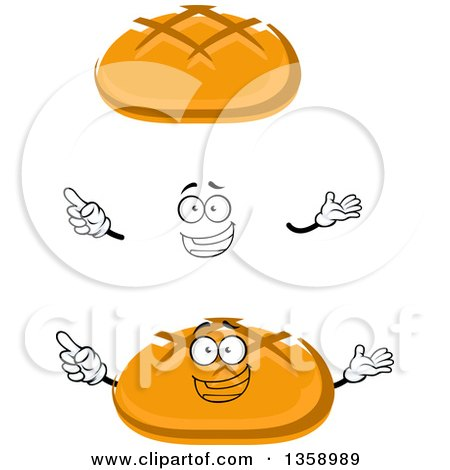 Clipart of a Cartoon Face, Hands and Bread Bowls - Royalty Free Vector Illustration by Vector Tradition SM