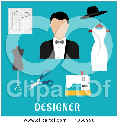 Clipart of a Flat Design Male Fashion Designer with a Sewing Machine, Tailor Mannequin, Scissors, and Accessories over Text on Blue - Royalty Free Vector Illustration by Vector Tradition SM