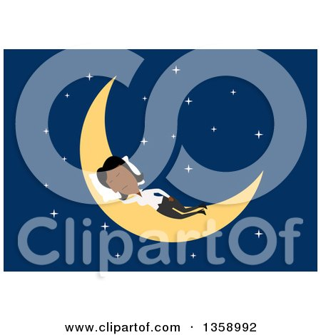 Clipart of a Flat Design Black Business Woman Sleeping on a Crescent Moon, on a Blue Background - Royalty Free Vector Illustration by Vector Tradition SM