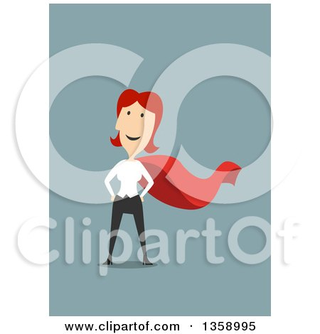 Clipart of a Flat Design Red Haired White Woman Super Hero, on a Blue Background - Royalty Free Vector Illustration by Vector Tradition SM