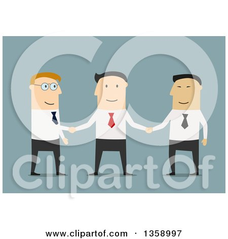 Clipart of Flat Design White and Asian Business Men Shaking Hands, on a Blue Background - Royalty Free Vector Illustration by Vector Tradition SM