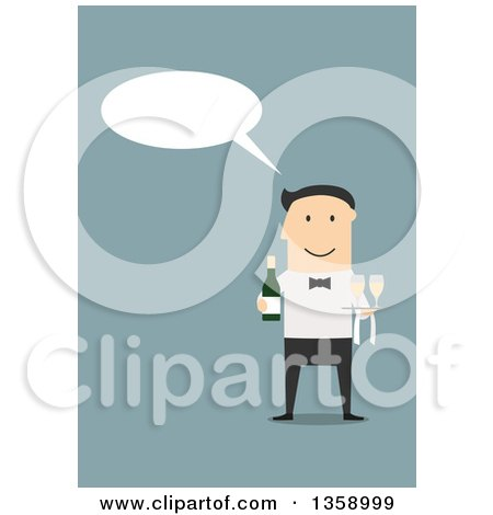 Clipart of a Flat Design Talking White Male Waiter Holding Champagne, on a Blue Background - Royalty Free Vector Illustration by Vector Tradition SM