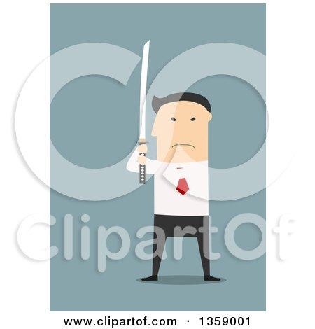 Clipart of a Flat Design Angry Asian Business Man Holding a Katana Sword - Royalty Free Vector Illustration by Vector Tradition SM