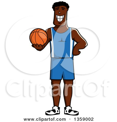 Clipart of a Cartoon Grinning Black Basketball Player Holding a Ball - Royalty Free Vector Illustration by Vector Tradition SM