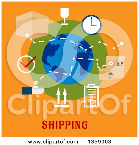 Clipart of a Flat Design Globe with Shipping Icons over Text on Orange - Royalty Free Vector Illustration by Vector Tradition SM