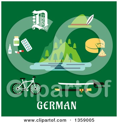 Clipart of a Flat Design of Apls Mountains and Other German Items over Text on Green - Royalty Free Vector Illustration by Vector Tradition SM