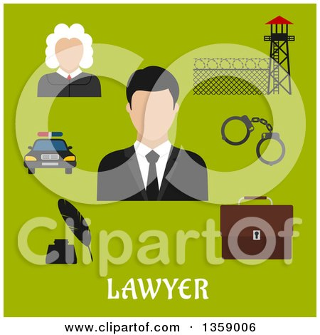 Clipart of a Flat Design Judge, Lawyer and Profession Icons over Text on Green - Royalty Free Vector Illustration by Vector Tradition SM
