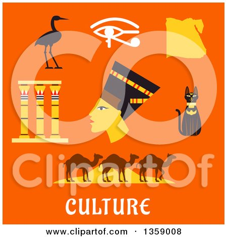 Clipart of a Flat Design of Nefertiti and Ancient Egyptian Icons over Text on Orange - Royalty Free Vector Illustration by Vector Tradition SM