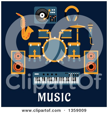 Clipart of a Flat Design Drum Set, Sax, Headphones, Microphone, Speakers, Keyboard and Record Player over Text on Blue - Royalty Free Vector Illustration by Vector Tradition SM