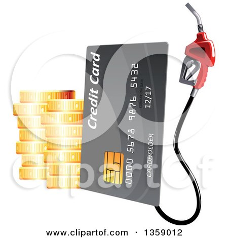 Clipart of a 3d Gray Gas Pump Credit Card with Stacks of Gold Coins - Royalty Free Vector Illustration by Vector Tradition SM