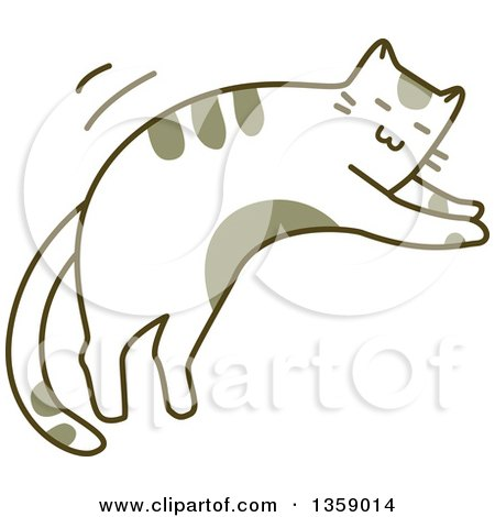 Clipart of a Sketched Cat Jumping - Royalty Free Vector Illustration by BNP Design Studio