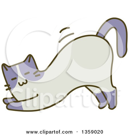 Clipart of a Sketched Cat Stretching - Royalty Free Vector Illustration by BNP Design Studio