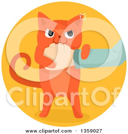 Clipart of a Mad Ginger Cat Biting a Hand, in a Circle - Royalty Free Vector Illustration by BNP Design Studio