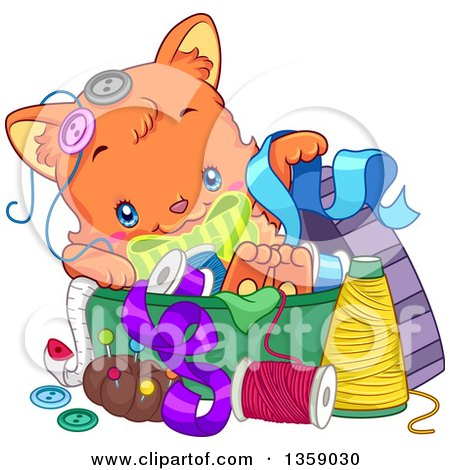 Clipart of a Cute Ginger Cat Playing in a Sewing Basket - Royalty Free Vector Illustration by BNP Design Studio