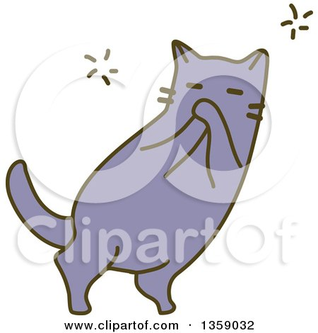 Clipart of a Sketched Cat Laughing - Royalty Free Vector Illustration by BNP Design Studio
