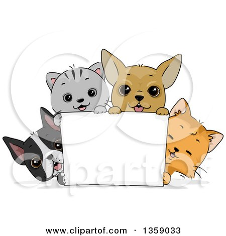 Clipart of Cute Cats and Puppy Dogs Around a Blank Sign - Royalty Free Vector Illustration by BNP Design Studio