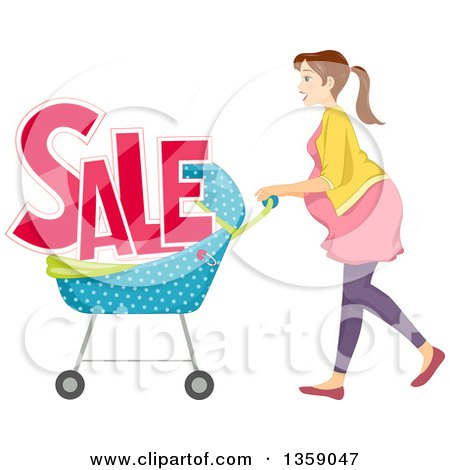 Clipart of a Brunette Caucasian Pregnant Woman Pushing a Stroller with Sale Text - Royalty Free Vector Illustration by BNP Design Studio