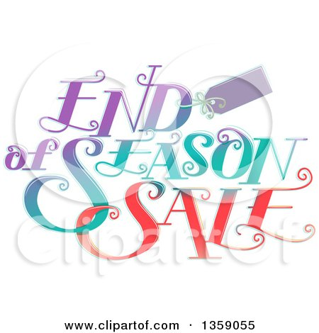 Clipart of a Tag and Gradient End of Season Sale Design - Royalty Free Vector Illustration by BNP Design Studio