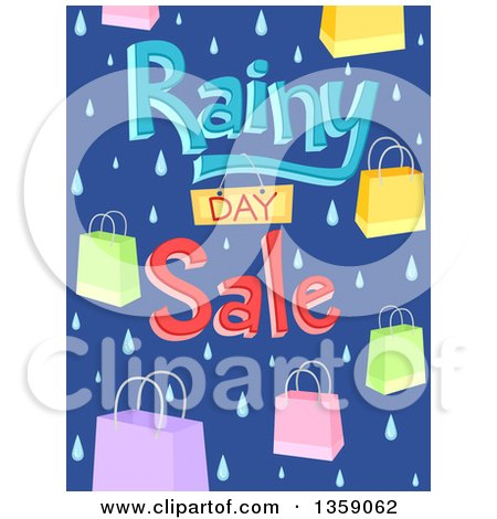 Clipart of a Rainy Day Sale Design