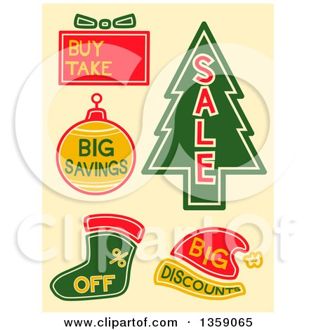 Clipart of Christmas Sales Labels on Beige - Royalty Free Vector Illustration by BNP Design Studio