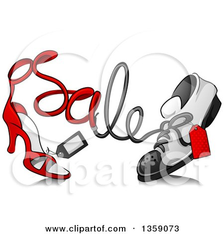 Clipart of a Sketched High Heel Shoe and Sneaker with Sale Text and Tags - Royalty Free Vector Illustration by BNP Design Studio