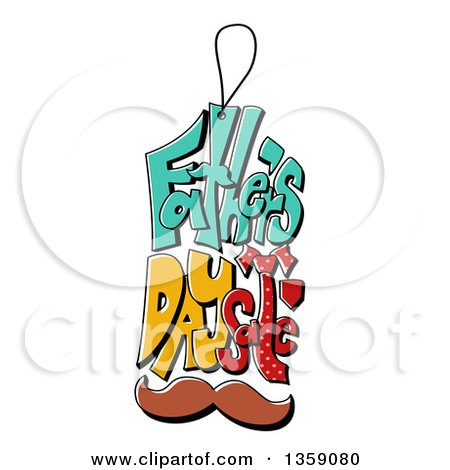 Clipart of a Cartoon Fathers Day Sales Tag with a Mustache - Royalty Free Vector Illustration by BNP Design Studio