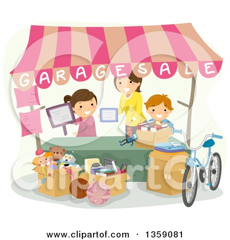 Clipart of a Happy Caucasian Mother and Children Setting up a Garage Sale Booth - Royalty Free Vector Illustration by BNP Design Studio
