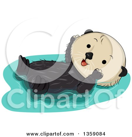 Clipart of a Cute Happy Sea Otter Floating on His Back - Royalty Free Vector Illustration by BNP Design Studio